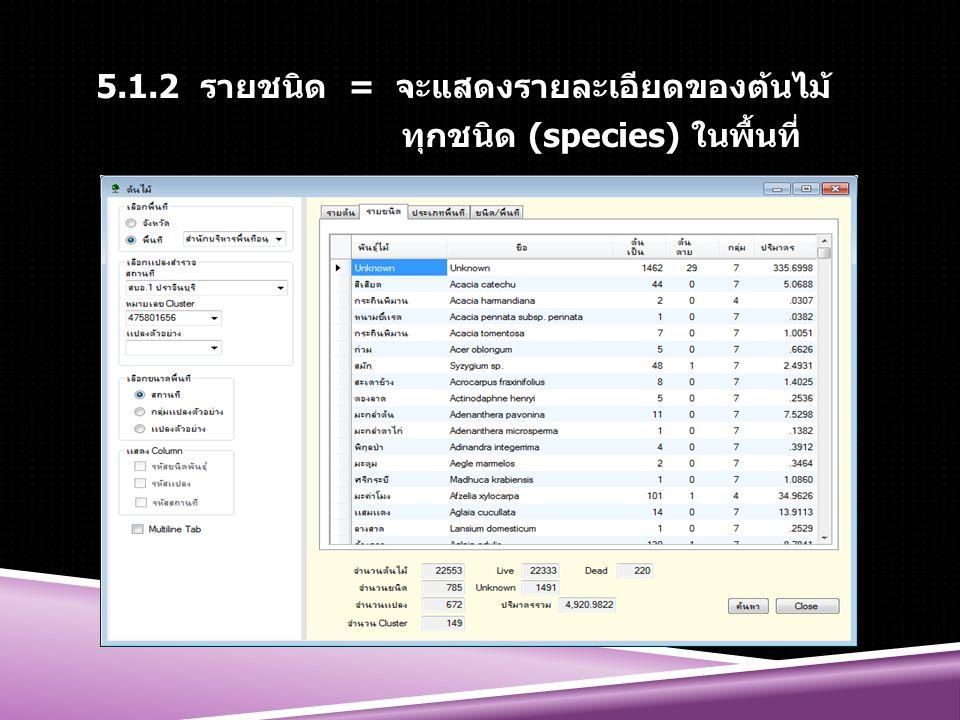 5.1.2 รายชนิด = จะแสดงรายละเอียดของต้นไม้ ทุกชนิด (species) ในพื้นที่