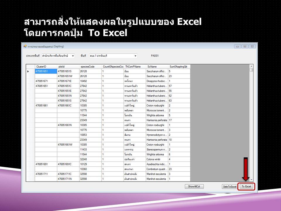 สามารถสั่งให้แสดงผลในรูปแบบของ Excel โดยการกดปุ่ม To Excel