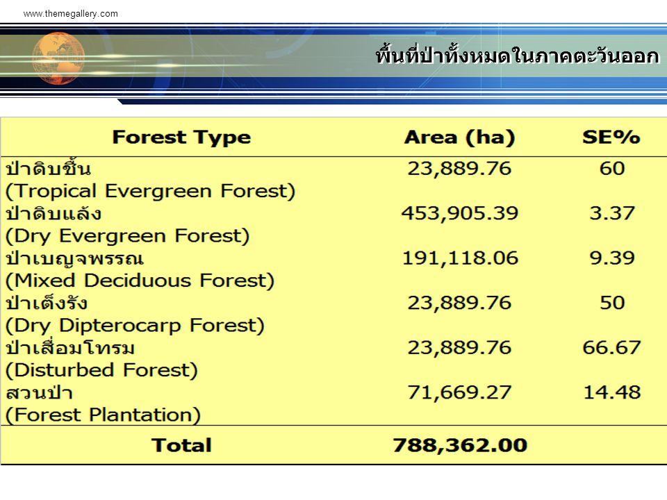 www.themegallery.com พื้นที่ป่าทั้งหมดในภาคตะวันออก