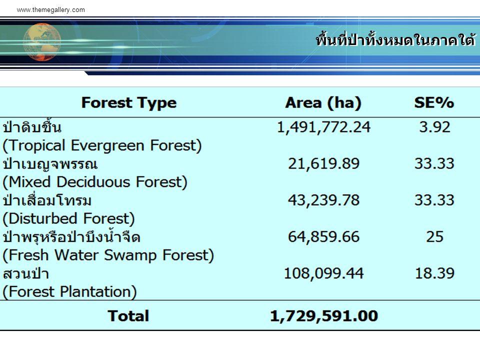 www.themegallery.com พื้นที่ป่าทั้งหมดในภาคใต้