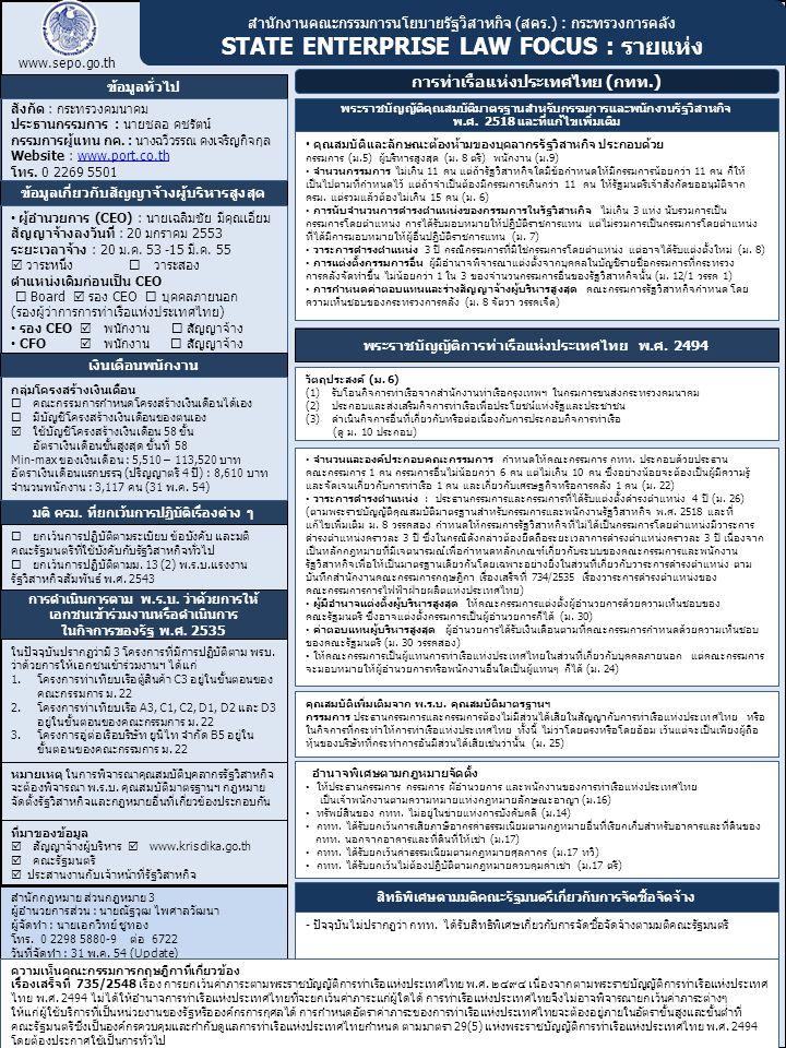 สำนักงานคณะกรรมการนโยบายรัฐวิสาหกิจ (สคร.) : กระทรวงการคลัง STATE ENTERPRISE LAW FOCUS : รายแห่ง www.sepo.go.th ข้อมูลทั่วไป การท่าเรือแห่งประเทศไทย (กทท.) ข้อมูลเกี่ยวกับสัญญาจ้างผู้บริหารสูงสุด สำนักกฎหมาย ส่วนกฎหมาย 3 ผู้อำนวยการส่วน : นายณัฐวุฒ ไพศาลวัฒนา ผู้จัดทำ : นายเอกวิทย์ ชูทอง โทร.