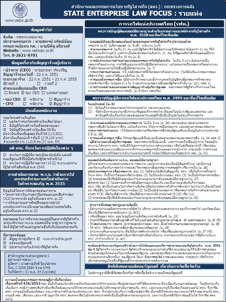 สำนักงานคณะกรรมการนโยบายรัฐวิสาหกิจ (สคร.) : กระทรวงการคลัง STATE ENTERPRISE LAW FOCUS : รายแห่ง www.sepo.go.th ข้อมูลทั่วไป การรถไฟแห่งประเทศไทย (รฟท.) ข้อมูลเกี่ยวกับสัญญาจ้างผู้บริหาร สำนักกฎหมาย ส่วนกฎหมาย 1 ผู้อำนวยการส่วน : - ผู้จัดทำ : นางสาวอภิรดี จิตต์ปรารพ โทร.