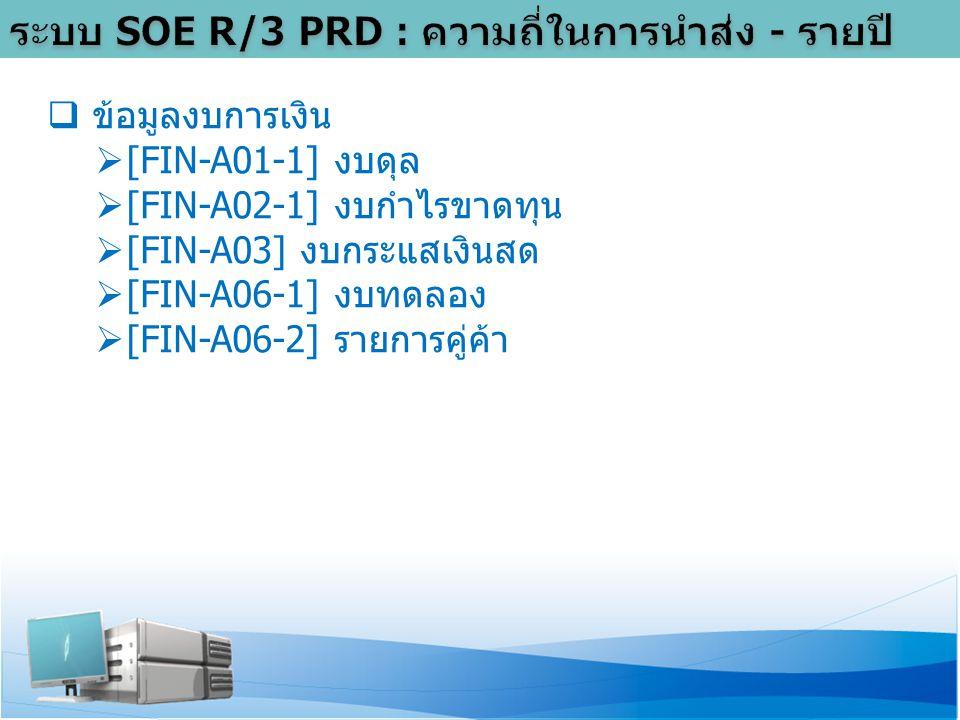  ข้อมูลงบการเงิน  [FIN-A01-1] งบดุล  [FIN-A02-1] งบกำไรขาดทุน  [FIN-A03] งบกระแสเงินสด  [FIN-A06-1] งบทดลอง  [FIN-A06-2] รายการคู่ค้า