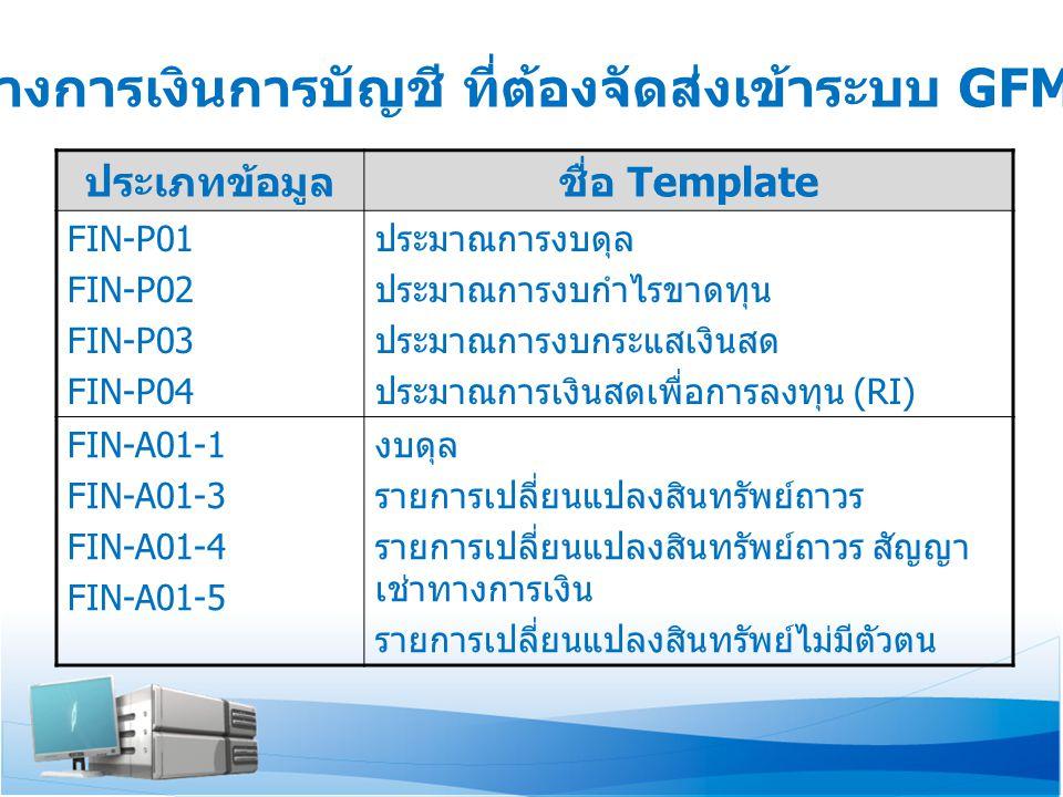 ประเภทข้อมูลชื่อ Template FIN-A02-1 FIN-A02-2 FIN-A02-3 FIN-A02-4 งบกำไรขาดทุน งบกำไรขาดทุน ตามพื้นที่ งบกำไรขาดทุน ตาม BU (Business Unit) รายละเอียดค่าใช้จ่ายพนักงาน FIN-A03 FIN-A04 งบกระแสเงินสด (C/F) รายงานเงินสดเพื่อการลงทุน (RI) FIN-A06-1 FIN-A06-2 งบทดลอง (TB) รายละเอียดรายการแยกตามคู่ค้า สำหรับ หน่วยงานราชการและรัฐวิสาหกิจ FIN-A07 FIN-A08 รายการรายละเอียดสินทรัพย์ถาวรหลักรายตัว รายการปรับปรุงเพื่อคำนวณค่า EVM ข้อมูลทางการเงินการบัญชี ที่ต้องจัดส่งเข้าระบบ GFMIS-SOE
