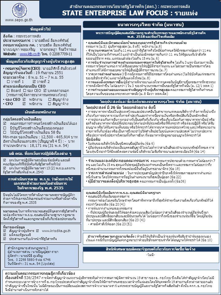สำนักงานคณะกรรมการนโยบายรัฐวิสาหกิจ (สคร.) : กระทรวงการคลัง STATE ENTERPRISE LAW FOCUS : รายแห่ง www.sepo.go.th ข้อมูลทั่วไป ธนาคารกรุงไทย จำกัด (มหาช