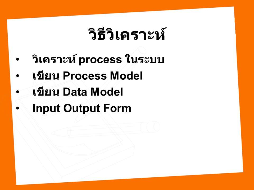 วิธีวิเคราะห์ วิเคราะห์ process ในระบบ เขียน Process Model เขียน Data Model Input Output Form