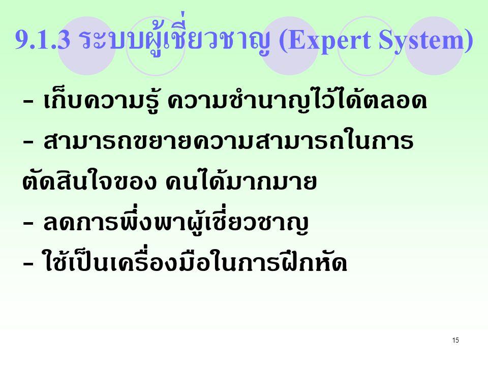 15 9.1.3 ระบบผู้เชี่ยวชาญ (Expert System) - เก็บความรู้ ความชำนาญไว้ได้ตลอด - สามารถขยายความสามารถในการ ตัดสินใจของ คนได้มากมาย - ลดการพึ่งพาผู้เชี่ยวชาญ - ใช้เป็นเครื่องมือในการฝึกหัด