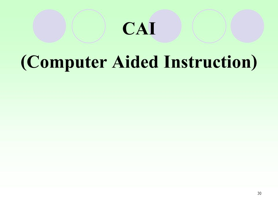 30 CAI (Computer Aided Instruction)