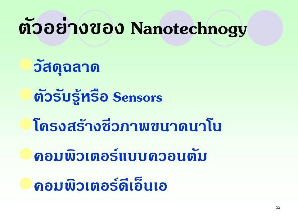 52 ตัวอย่างของ Nanotechnogy วัสดุฉลาด ตัวรับรู้หรือ Sensors โครงสร้างชีวภาพขนาดนาโน คอมพิวเตอร์แบบควอนตัม คอมพิวเตอร์ดีเอ็นเอ