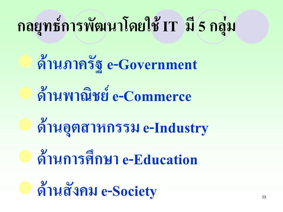 59 กลยุทธ์การพัฒนาโดยใช้ IT มี 5 กลุ่ม ด้านภาครัฐ e-Government ด้านพาณิชย์ e-Commerce ด้านอุตสาหกรรม e-Industry ด้านการศึกษา e-Education ด้านสังคม e-S