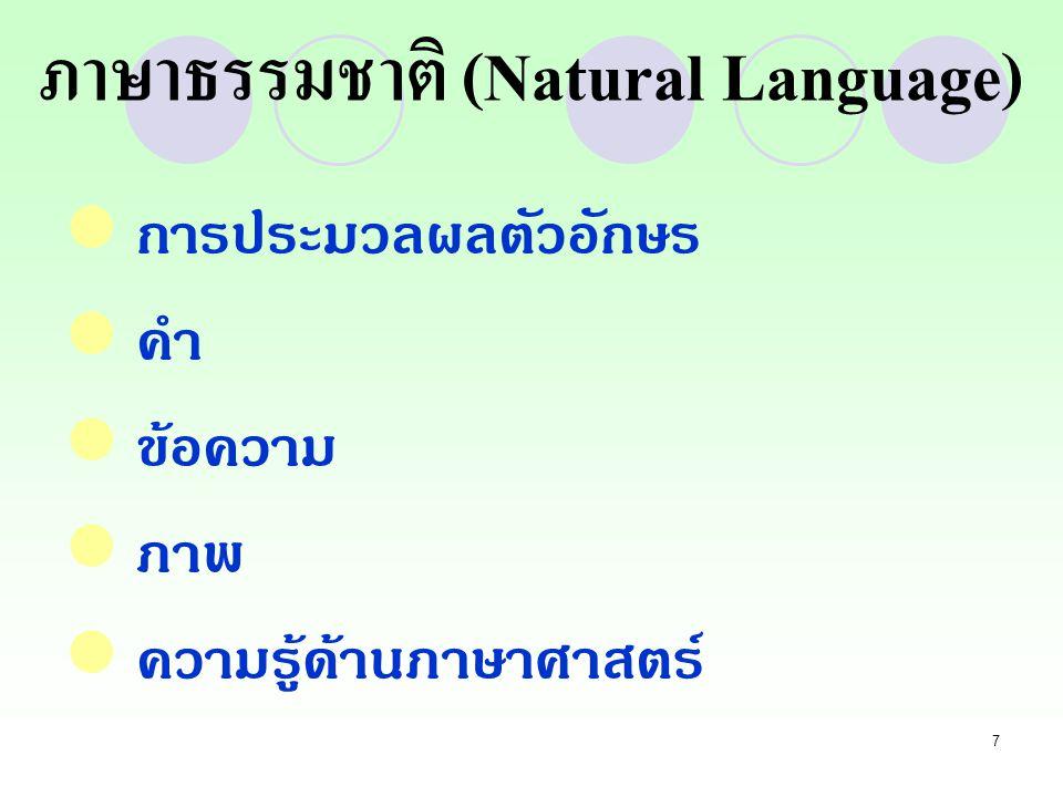 7 การประมวลผลตัวอักษร คำ ข้อความ ภาพ ความรู้ด้านภาษาศาสตร์ ภาษาธรรมชาติ (Natural Language)