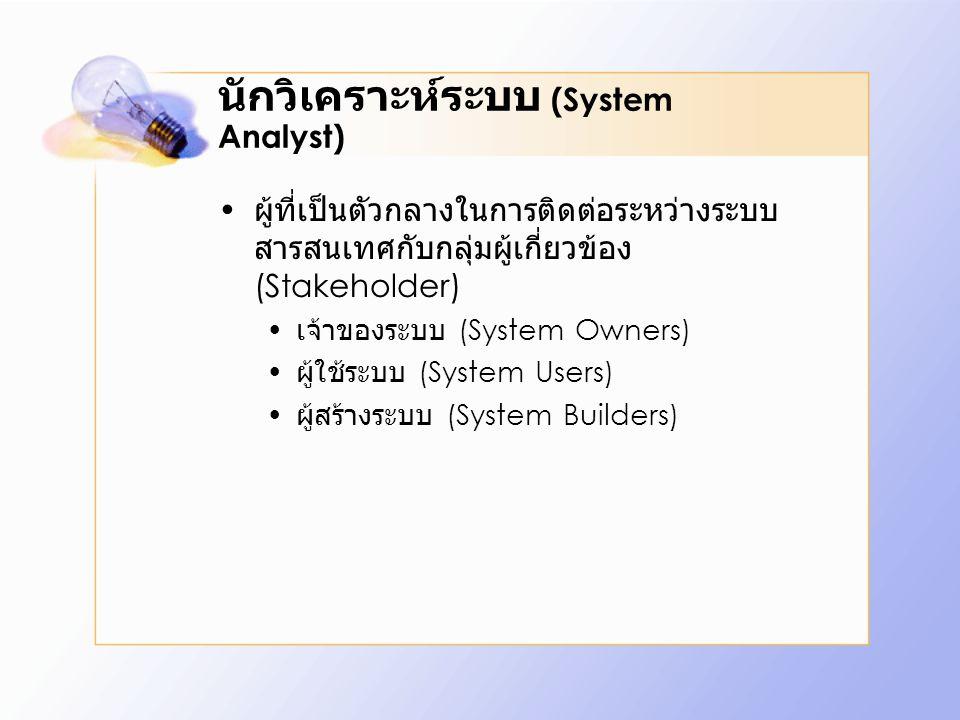 นักวิเคราะห์ระบบ (System Analyst) ผู้ที่เป็นตัวกลางในการติดต่อระหว่างระบบ สารสนเทศกับกลุ่มผู้เกี่ยวข้อง (Stakeholder) เจ้าของระบบ (System Owners) ผู้ใช้ระบบ (System Users) ผู้สร้างระบบ (System Builders)