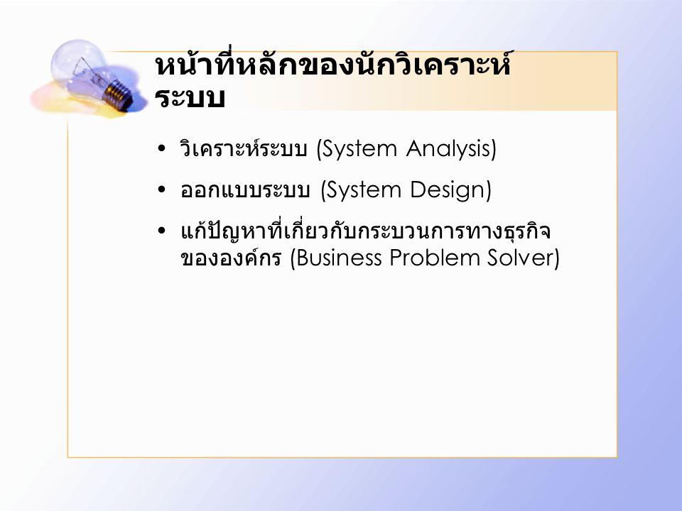 หน้าที่หลักของนักวิเคราะห์ ระบบ วิเคราะห์ระบบ (System Analysis) ออกแบบระบบ (System Design) แก้ปัญหาที่เกี่ยวกับกระบวนการทางธุรกิจ ขององค์กร (Business
