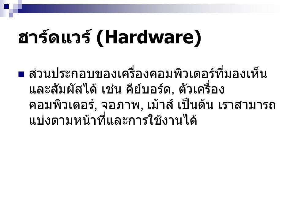 ฮาร์ดแวร์ (Hardware) ส่วนประกอบของเครื่องคอมพิวเตอร์ที่มองเห็น และสัมผัสได้ เช่น คีย์บอร์ด, ตัวเครื่อง คอมพิวเตอร์, จอภาพ, เม้าส์ เป็นต้น เราสามารถ แบ