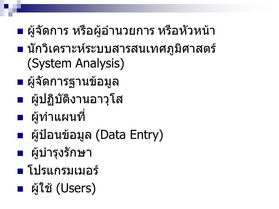 ผู้จัดการ หรือผู้อำนวยการ หรือหัวหน้า นักวิเคราะห์ระบบสารสนเทศภูมิศาสตร์ (System Analysis) ผู้จัดการฐานข้อมูล ผู้ปฏิบัติงานอาวุโส ผู้ทำแผนที่ ผู้ป้อนข