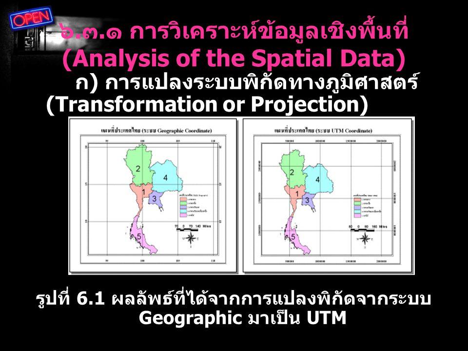 ๖. ๓. ๑ การวิเคราะห์ข้อมูลเชิงพื้นที่ (Analysis of the Spatial Data) ก ) การแปลงระบบพิกัดทางภูมิศาสตร์ (Transformation or Projection) รูปที่ 6.1 ผลลัพ