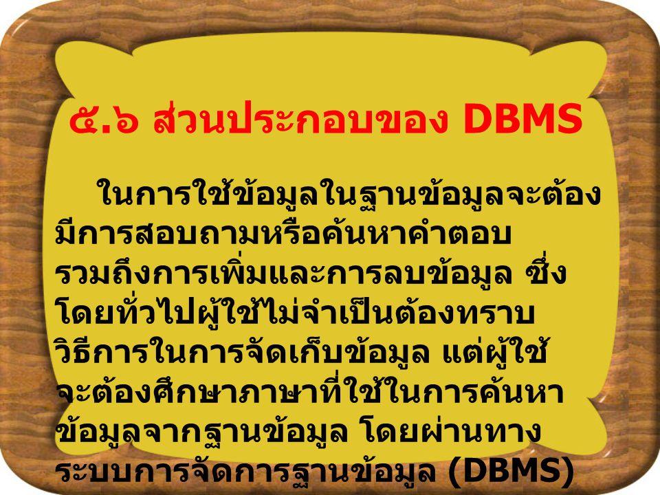 ๕. ๖ ส่วนประกอบของ DBMS ในการใช้ข้อมูลในฐานข้อมูลจะต้อง มีการสอบถามหรือค้นหาคำตอบ รวมถึงการเพิ่มและการลบข้อมูล ซึ่ง โดยทั่วไปผู้ใช้ไม่จำเป็นต้องทราบ ว