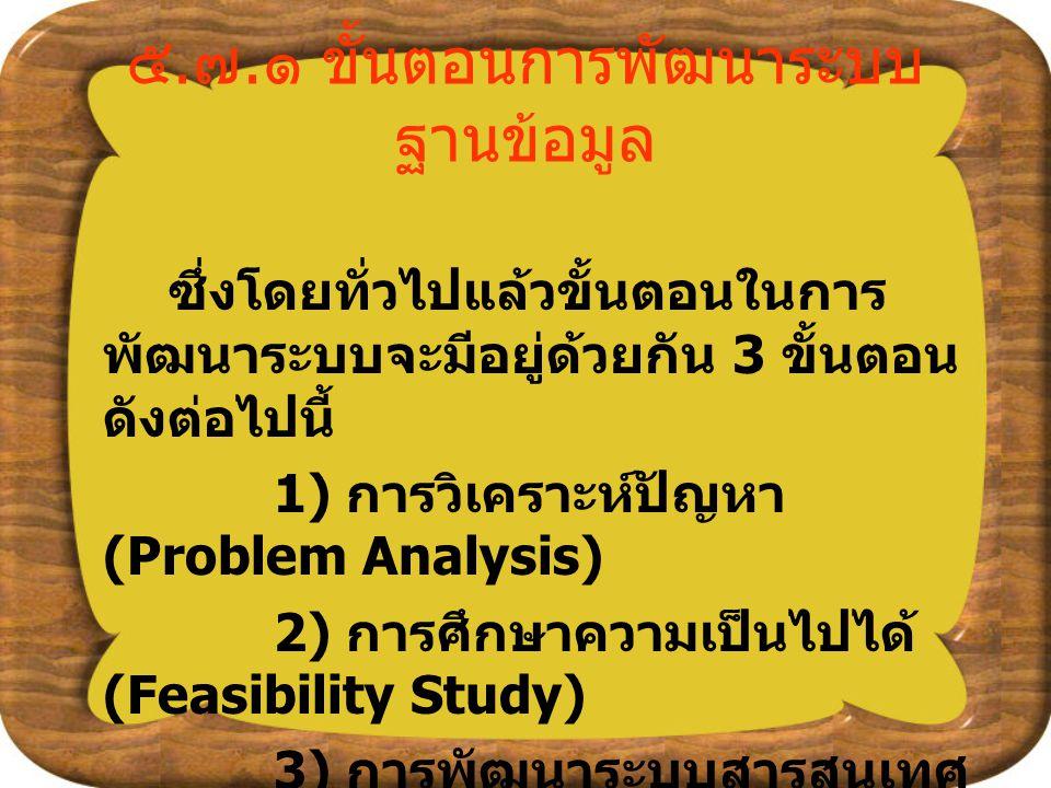 ๕. ๗. ๑ ขั้นตอนการพัฒนาระบบ ฐานข้อมูล ซึ่งโดยทั่วไปแล้วขั้นตอนในการ พัฒนาระบบจะมีอยู่ด้วยกัน 3 ขั้นตอน ดังต่อไปนี้ 1) การวิเคราะห์ปัญหา (Problem Analy