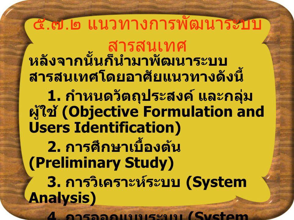 ๕. ๗. ๒ แนวทางการพัฒนาระบบ สารสนเทศ หลังจากนั้นก็นำมาพัฒนาระบบ สารสนเทศโดยอาศัยแนวทางดังนี้ 1. กำหนดวัตถุประสงค์ และกลุ่ม ผู้ใช้ (Objective Formulatio