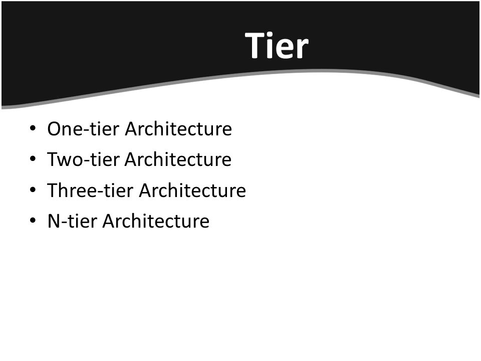 Tier One-tier Architecture Two-tier Architecture Three-tier Architecture N-tier Architecture
