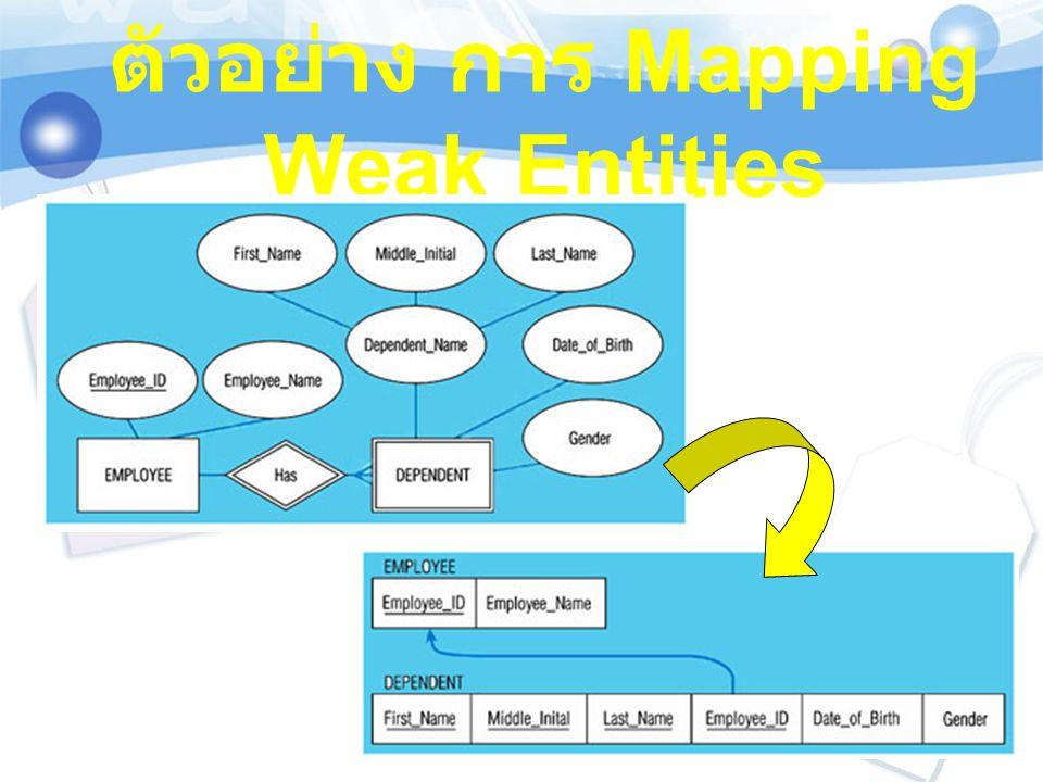 ตัวอย่างการ Mapping multivalued attribute