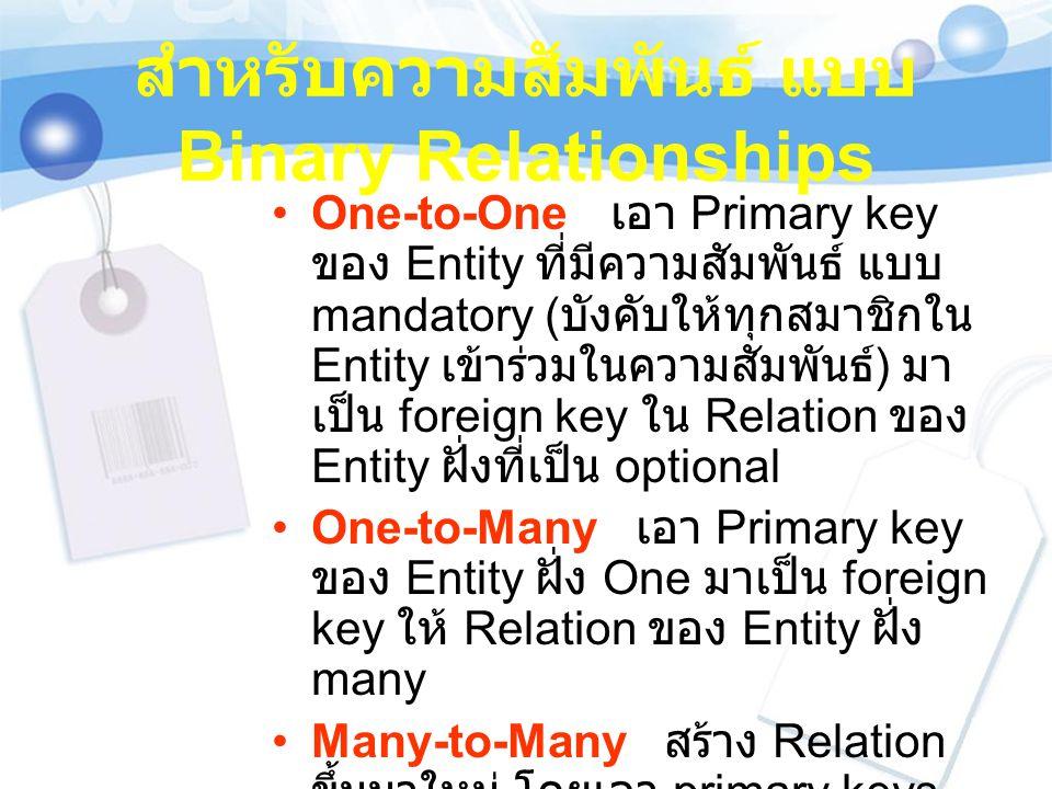 สำหรับความสัมพันธ์ แบบ Binary Relationships One-to-One เอา Primary key ของ Entity ที่มีความสัมพันธ์ แบบ mandatory ( บังคับให้ทุกสมาชิกใน Entity เข้าร่