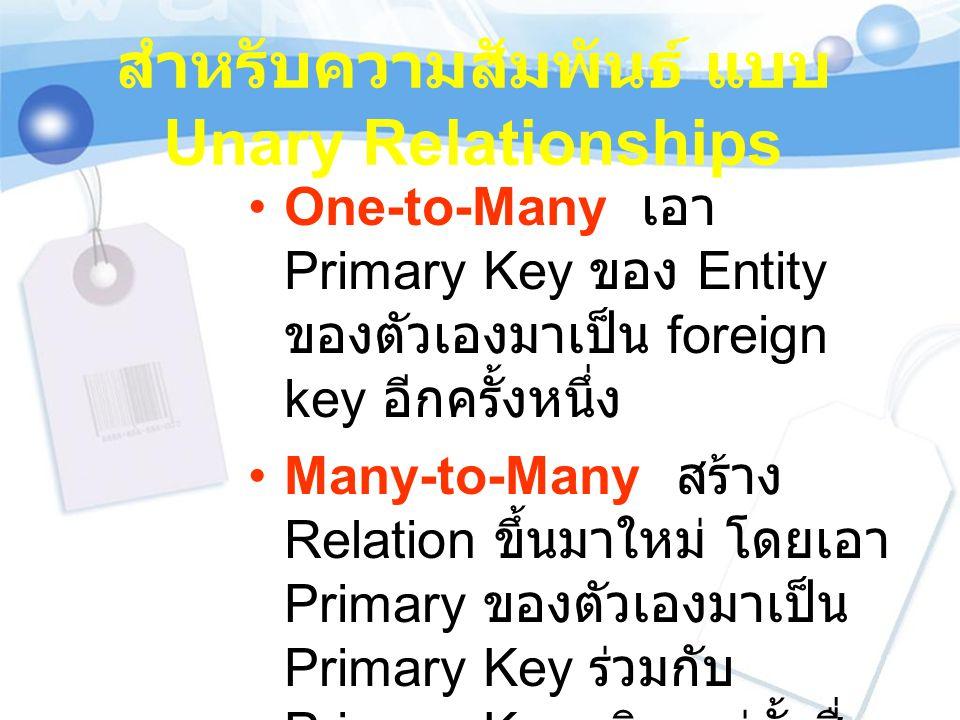 สำหรับความสัมพันธ์ แบบ Unary Relationships One-to-Many เอา Primary Key ของ Entity ของตัวเองมาเป็น foreign key อีกครั้งหนึ่ง Many-to-Many สร้าง Relatio