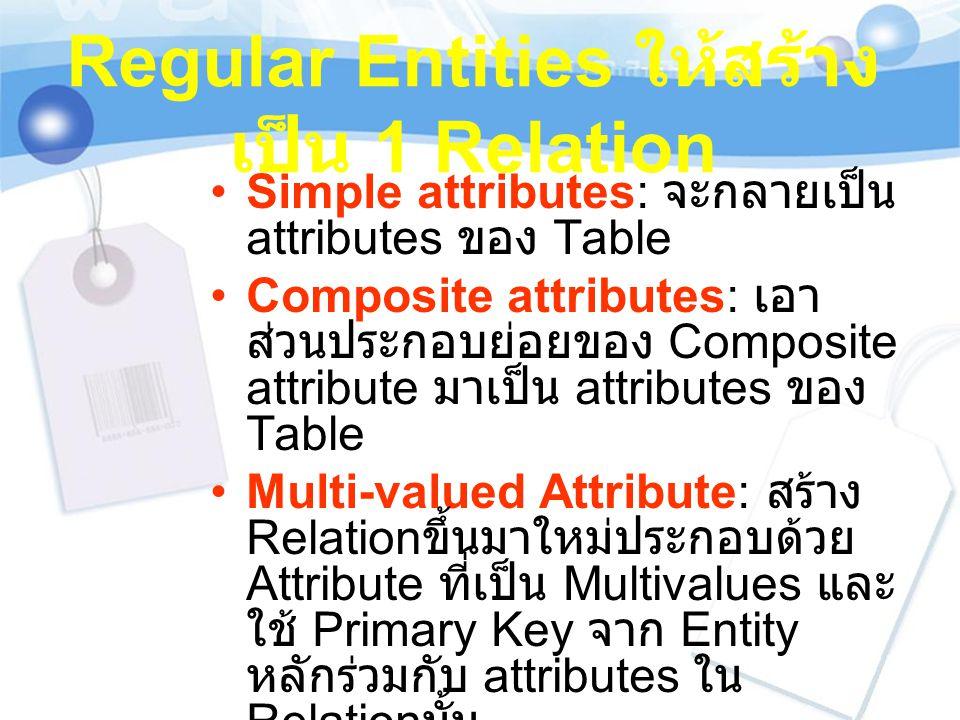 Regular Entities ให้สร้าง เป็น 1 Relation Simple attributes: จะกลายเป็น attributes ของ Table Composite attributes: เอา ส่วนประกอบย่อยของ Composite att