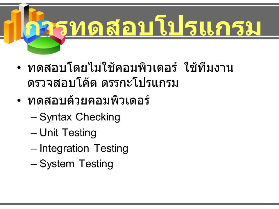 การทดสอบโปรแกรม ทดสอบโดยไม่ใช้คอมพิวเตอร์ ใช้ทีมงาน ตรวจสอบโค้ด ตรรกะโปรแกรม ทดสอบด้วยคอมพิวเตอร์ –Syntax Checking –Unit Testing –Integration Testing