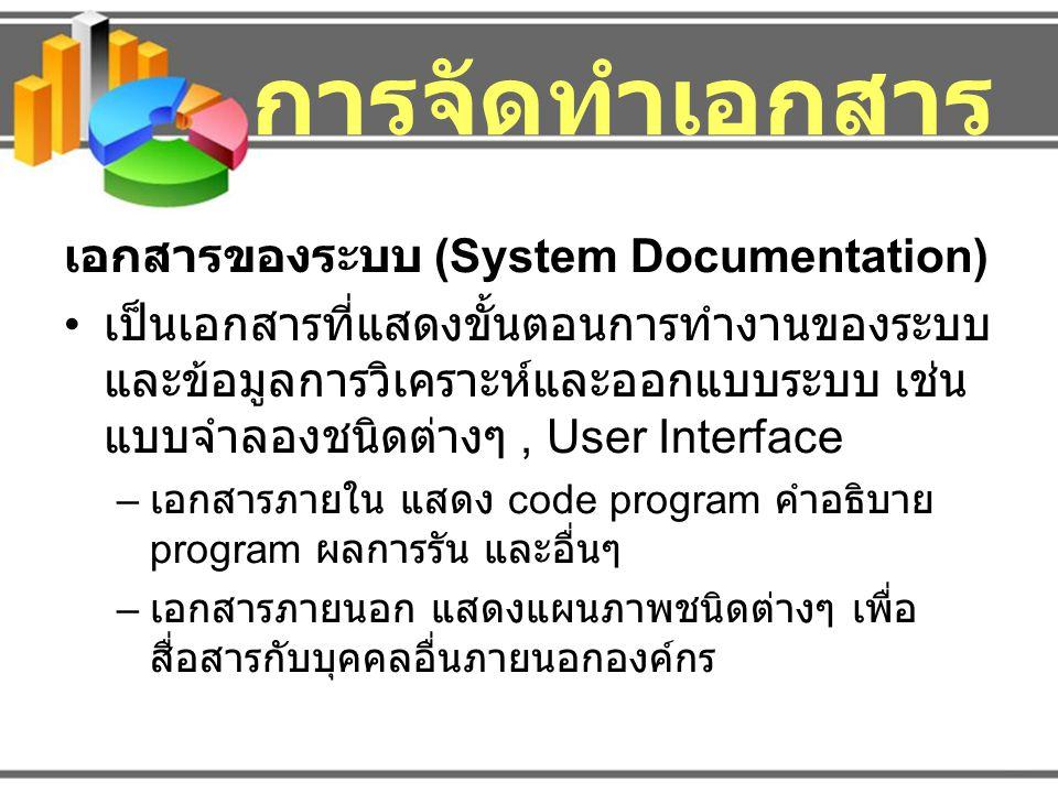 การจัดทำเอกสาร เอกสารของผู้ใช้ (User Documentation) เป็นเอกสารที่จัดทำขึ้นเพื่ออธิบายขั้นตอนการ ใช้งานระบบ – คู่มือการใช้งาน (User's Guide) – เอกสารสำหรับผู้ดูแลระบบ ( อยู่ในรูปเอกสารเป็น เล่ม, เป็นไฟล์ หรือเป็น Help