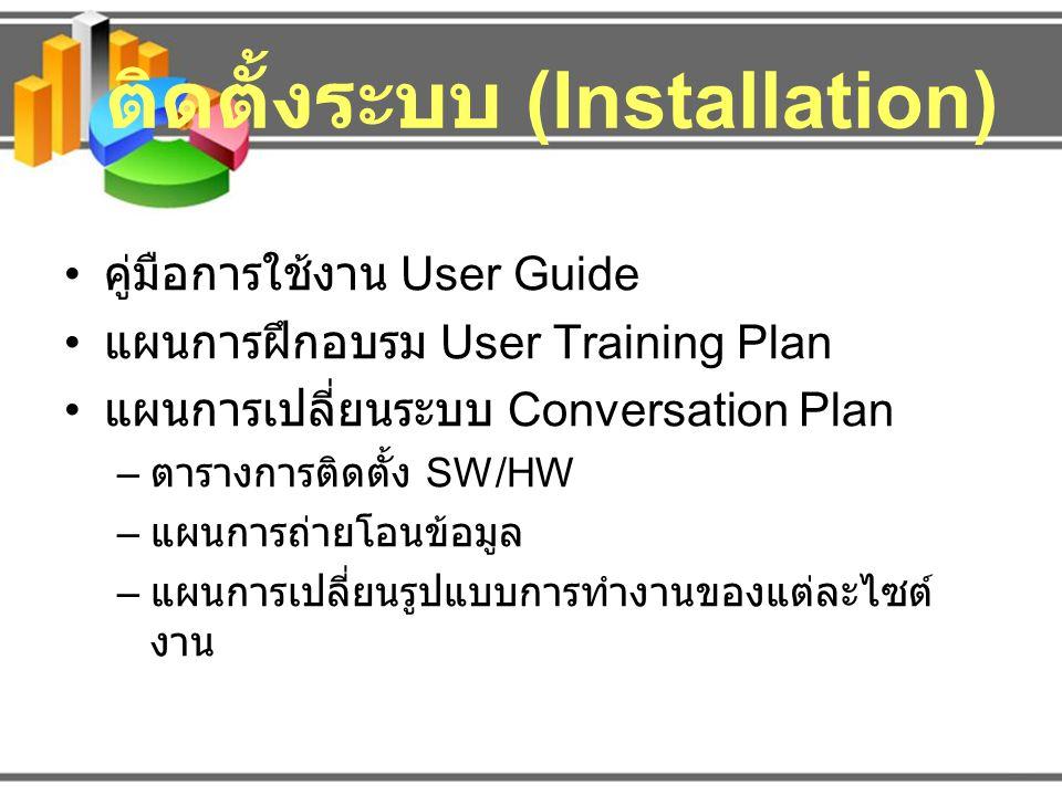 ติดตั้งระบบ (Installation) คู่มือการใช้งาน User Guide แผนการฝึกอบรม User Training Plan แผนการเปลี่ยนระบบ Conversation Plan – ตารางการติดตั้ง SW/HW – แ