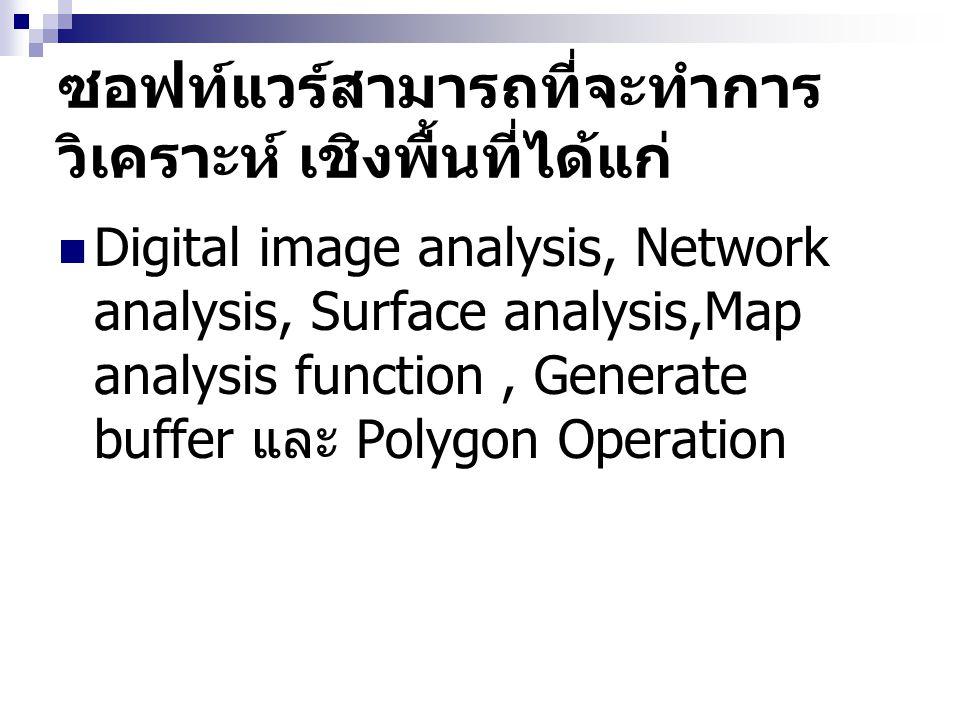 ซอฟท์แวร์สามารถที่จะทำการ วิเคราะห์ เชิงพื้นที่ได้แก่ Digital image analysis, Network analysis, Surface analysis,Map analysis function, Generate buffe
