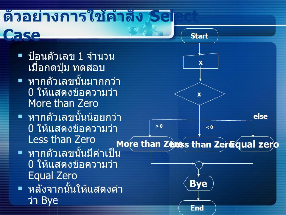 ตัวอย่างการใช้คำสั่ง Select Case  ป้อนตัวเลข 1 จำนวน เมื่อกดปุ่ม ทดสอบ  หากตัวเลขนั้นมากกว่า 0 ให้แสดงข้อความว่า More than Zero  หากตัวเลขนั้นน้อยกว่า 0 ให้แสดงข้อความว่า Less than Zero  หากตัวเลขนั้นมีค่าเป็น 0 ให้แสดงข้อความว่า Equal Zero  หลังจากนั้นให้แสดงคำ ว่า Bye Start x x Equal zero More than Zero Less than Zero Bye End < 0 else > 0
