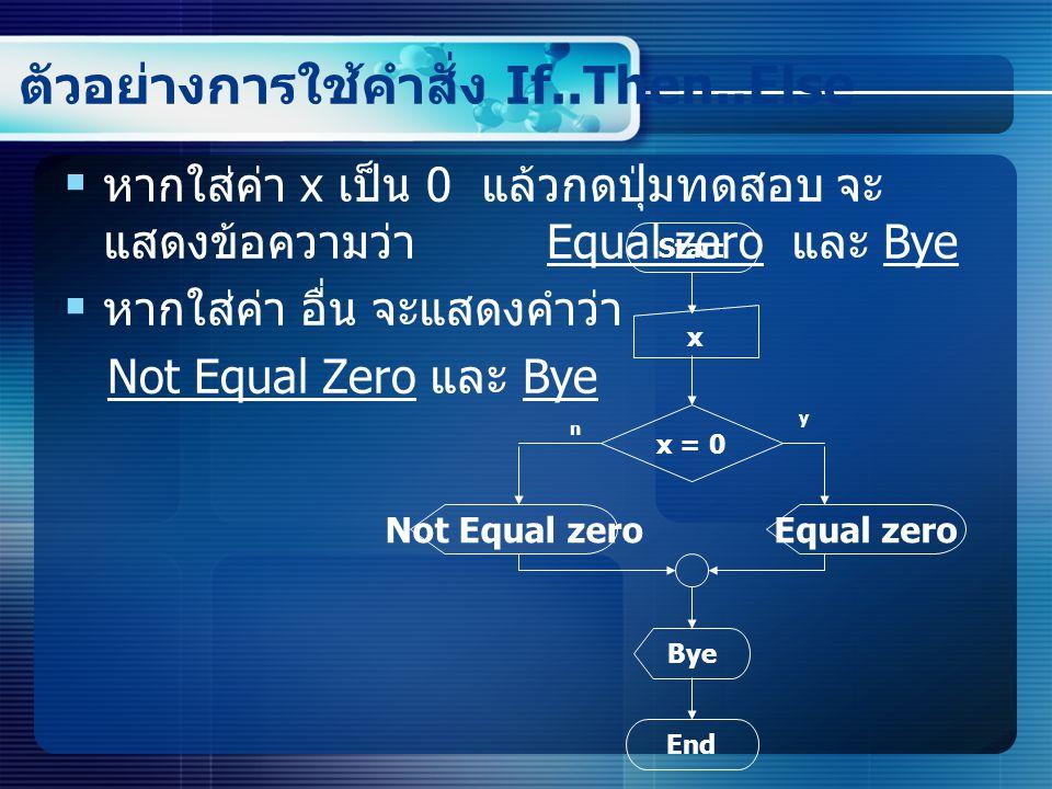 ตัวอย่างการใช้คำสั่ง If..Then..Else  หากใส่ค่า x เป็น 0 แล้วกดปุ่มทดสอบ จะ แสดงข้อความว่า Equal zero และ Bye  หากใส่ค่า อื่น จะแสดงคำว่า Not Equal Zero และ Bye Start x x = 0 End Bye Equal zero y n Not Equal zero