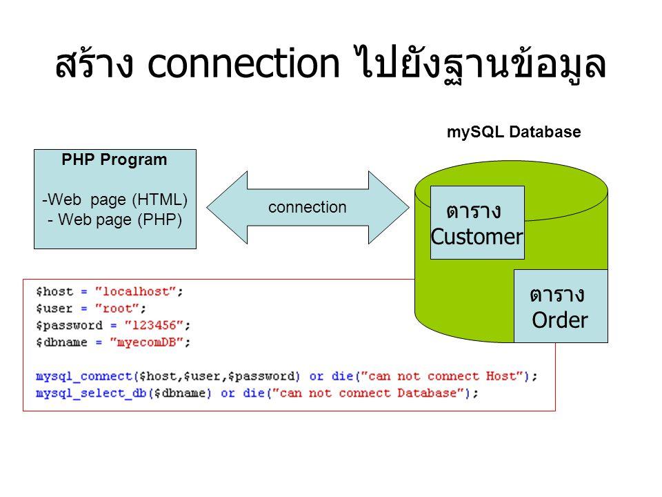 สร้าง connection ไปยังฐานข้อมูล PHP Program -Web page (HTML) - Web page (PHP) mySQL Database ตาราง Customer ตาราง Order connection