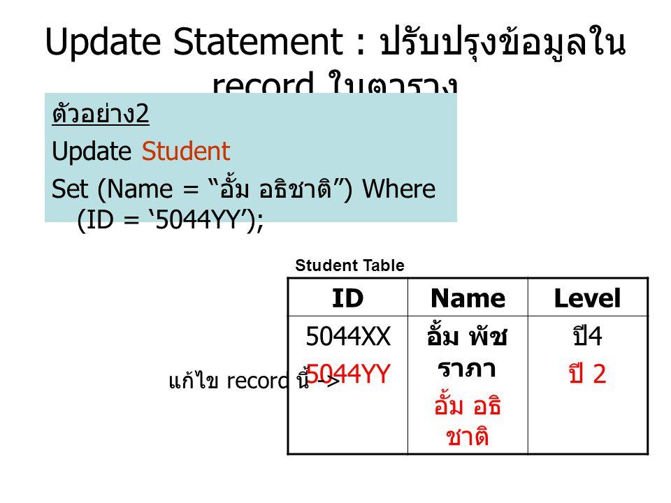 Update Statement : ปรับปรุงข้อมูลใน record ในตาราง ตัวอย่าง 2 Update Student Set (Name = อั้ม อธิชาติ ) Where (ID = '5044YY'); Student Table IDNameLevel 5044XX 5044YY อั้ม พัช ราภา อั้ม อธิ ชาติ ปี 4 ปี 2 แก้ไข record นี้ ->