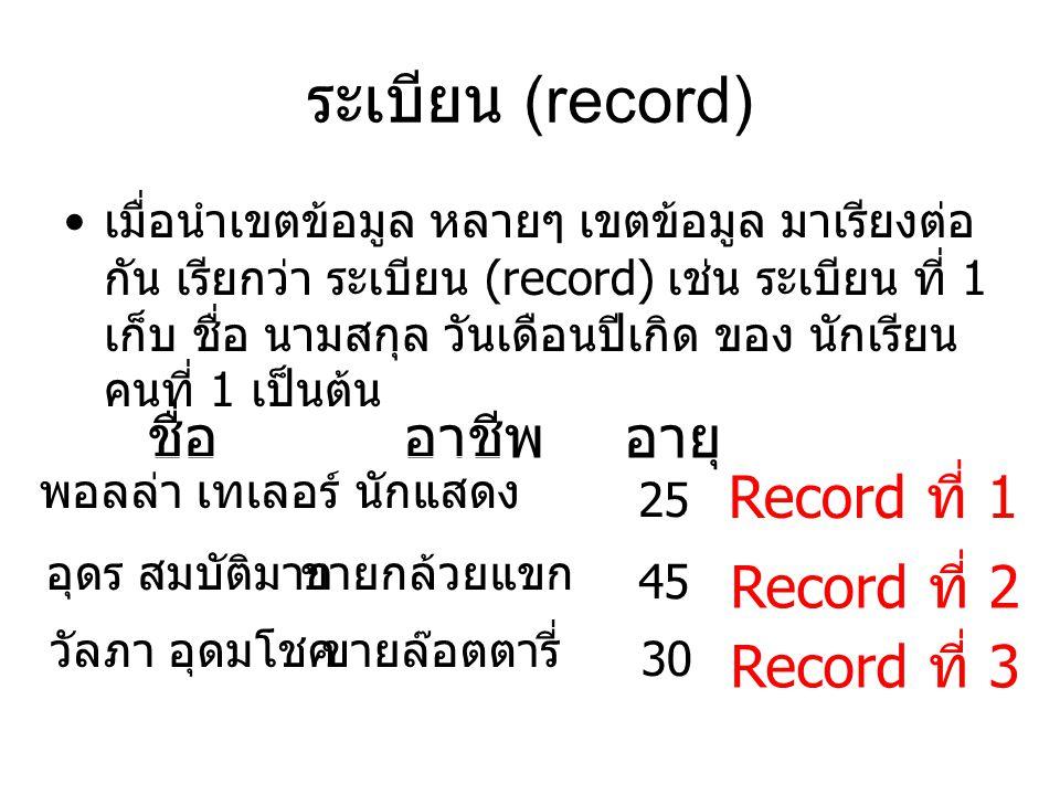 Insert statement : เพิ่ม record ลงในตาราง รูปแบบ Insert into ชื่อตาราง ( ชื่อฟิวด์ 1, ชื่อฟิวด์ 2, ชื่อฟิวด์ 3) Values (value1, value2, value3); ตัวอย่าง 1 Insert into Student (ID, Name, Level) Values ('5044XX', ' พอลล่า เทเลอร์ ', ' ปี 4'); IDNameLevel 5044XX พอลล่า เทเลอร์ ปี 4 Student Table