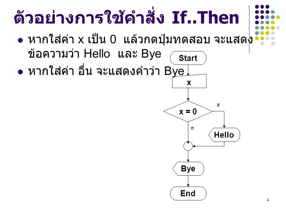 4 ตัวอย่างการใช้คำสั่ง If..Then หากใส่ค่า x เป็น 0 แล้วกดปุ่มทดสอบ จะแสดง ข้อความว่า Hello และ Bye หากใส่ค่า อื่น จะแสดงคำว่า Bye Start x x = 0 End By