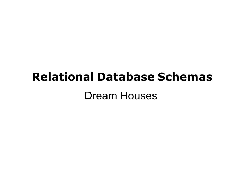 Relational Database Schemas Dream Houses