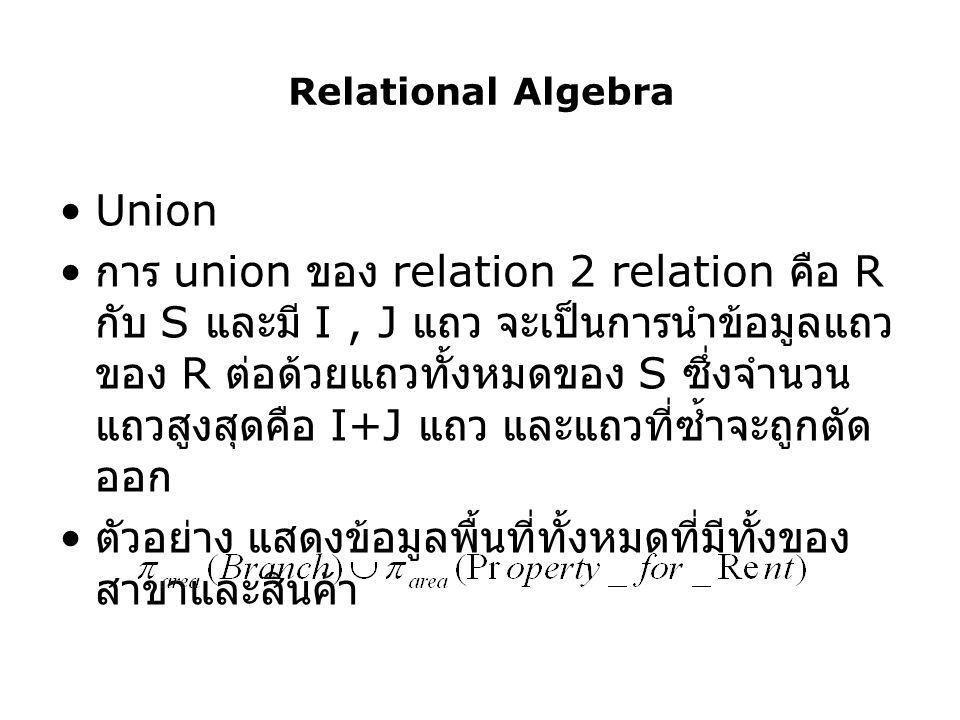 Relational Algebra Union การ union ของ relation 2 relation คือ R กับ S และมี I, J แถว จะเป็นการนำข้อมูลแถว ของ R ต่อด้วยแถวทั้งหมดของ S ซึ่งจำนวน แถวส