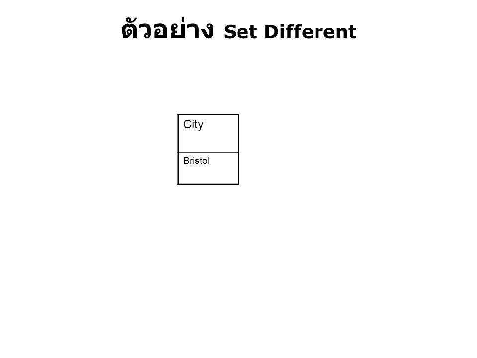 ตัวอย่าง Set Different City Bristol