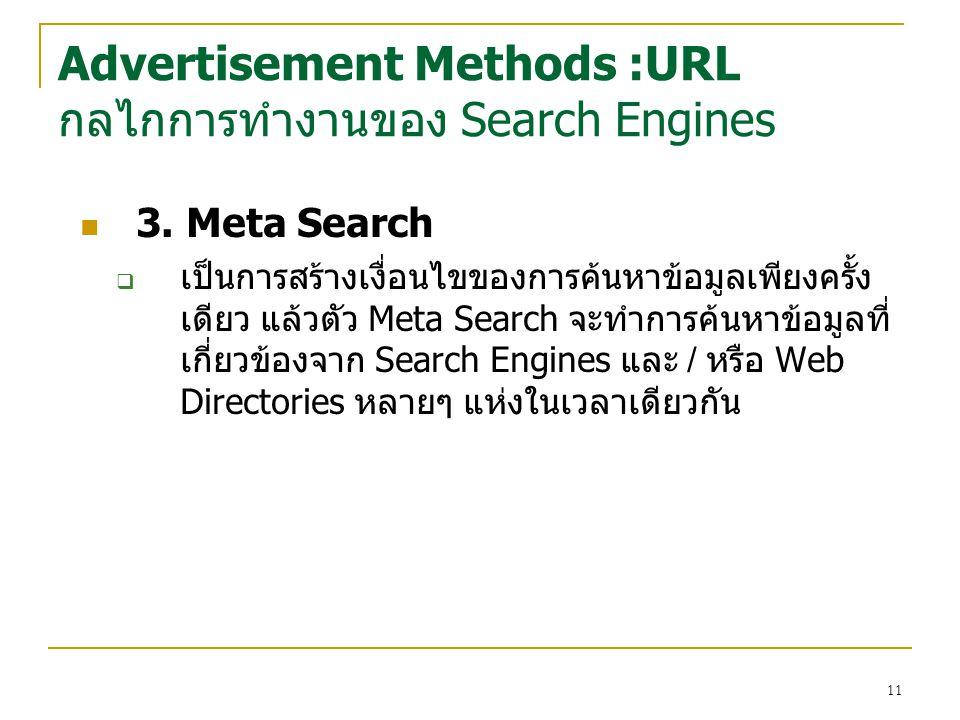 11 3. Meta Search  เป็นการสร้างเงื่อนไขของการค้นหาข้อมูลเพียงครั้ง เดียว แล้วตัว Meta Search จะทำการค้นหาข้อมูลที่ เกี่ยวข้องจาก Search Engines และ /
