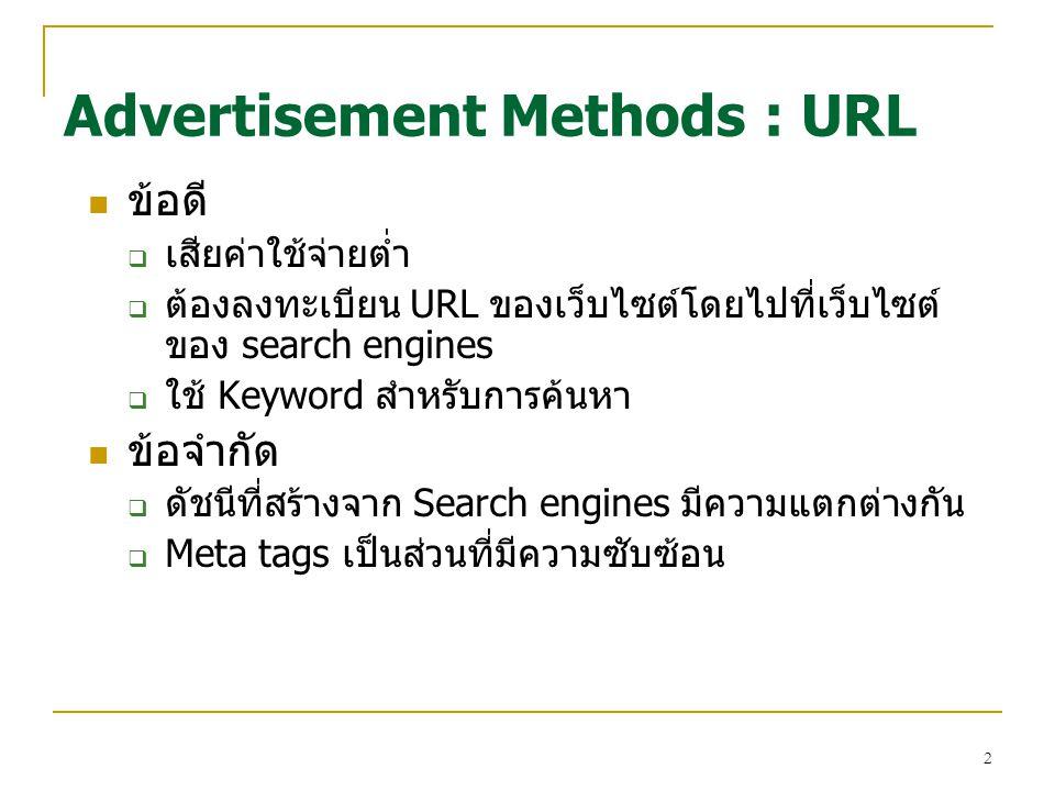 2 ข้อดี  เสียค่าใช้จ่ายต่ำ  ต้องลงทะเบียน URL ของเว็บไซต์โดยไปที่เว็บไซต์ ของ search engines  ใช้ Keyword สำหรับการค้นหา ข้อจำกัด  ดัชนีที่สร้างจาก Search engines มีความแตกต่างกัน  Meta tags เป็นส่วนที่มีความซับซ้อน Advertisement Methods : URL