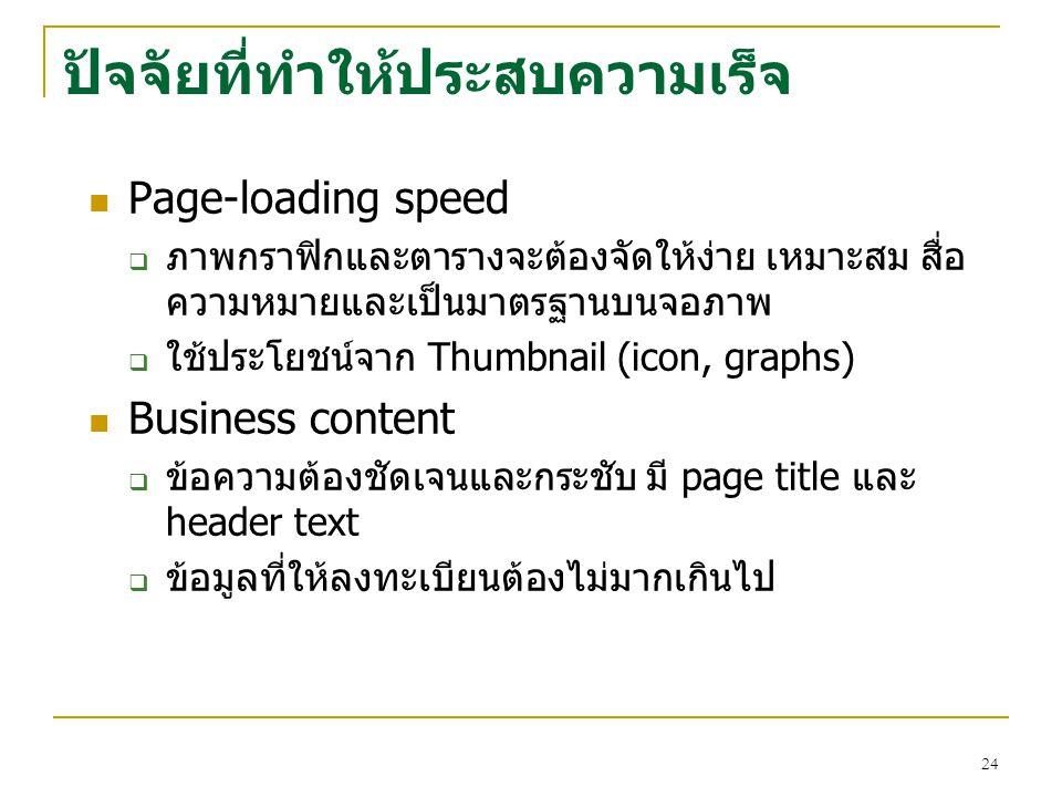 24 ปัจจัยที่ทำให้ประสบความเร็จ Page-loading speed  ภาพกราฟิกและตารางจะต้องจัดให้ง่าย เหมาะสม สื่อ ความหมายและเป็นมาตรฐานบนจอภาพ  ใช้ประโยชน์จาก Thumbnail (icon, graphs) Business content  ข้อความต้องชัดเจนและกระชับ มี page title และ header text  ข้อมูลที่ให้ลงทะเบียนต้องไม่มากเกินไป