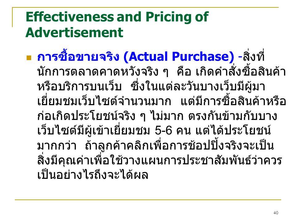 40 Effectiveness and Pricing of Advertisement การซื้อขายจริง (Actual Purchase) -สิ่งที่ นักการตลาดคาดหวังจริง ๆ คือ เกิดคำสั่งซื้อสินค้า หรือบริการบนเว็บ ซึ่งในแต่ละวันบางเว็บมีผู้มา เยี่ยมชมเว็บไซต์จำนวนมาก แต่มีการซื้อสินค้าหรือ ก่อเกิดประโยชน์จริง ๆ ไม่มาก ตรงกันข้ามกับบาง เว็บไซต์มีผู้เข้าเยี่ยมชม 5-6 คน แต่ได้ประโยชน์ มากกว่า ถ้าลูกค้าคลิกเพื่อการช้อปปิ้งจริงจะเป็น สิ่งมีคุณค่าเพื่อใช้วางแผนการประชาสัมพันธ์ว่าควร เป็นอย่างไรถึงจะได้ผล