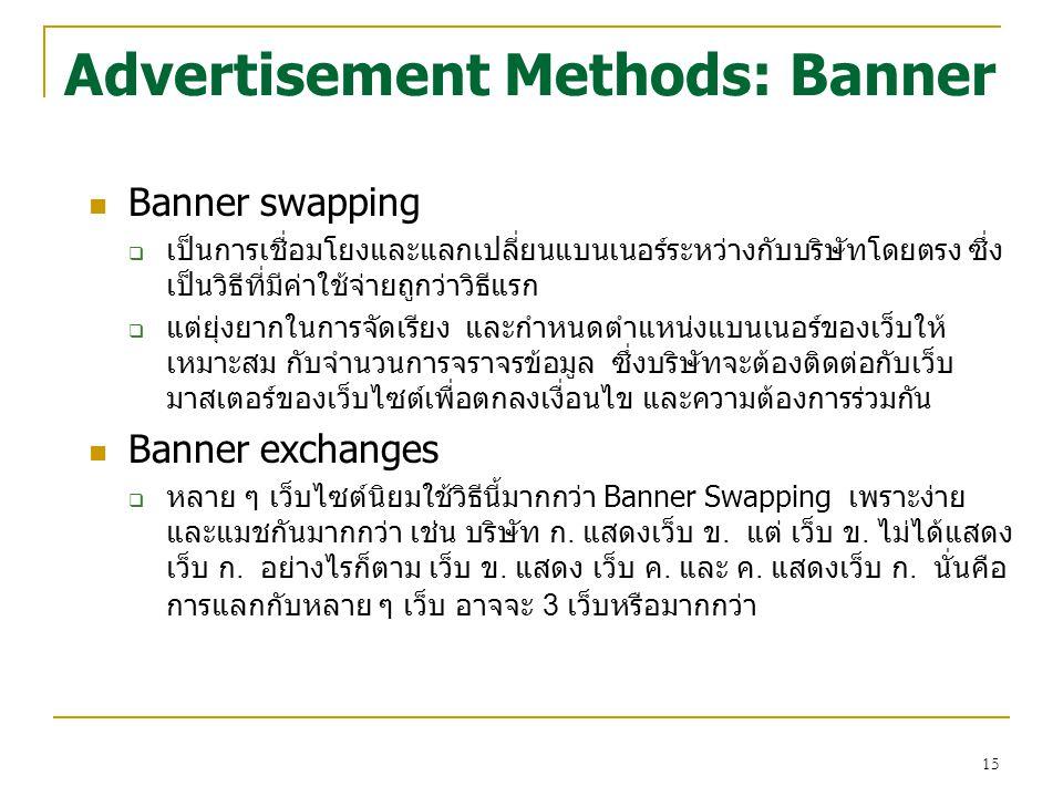 15 Advertisement Methods: Banner Banner swapping  เป็นการเชื่อมโยงและแลกเปลี่ยนแบนเนอร์ระหว่างกับบริษัทโดยตรง ซึ่ง เป็นวิธีที่มีค่าใช้จ่ายถูกว่าวิธีแ