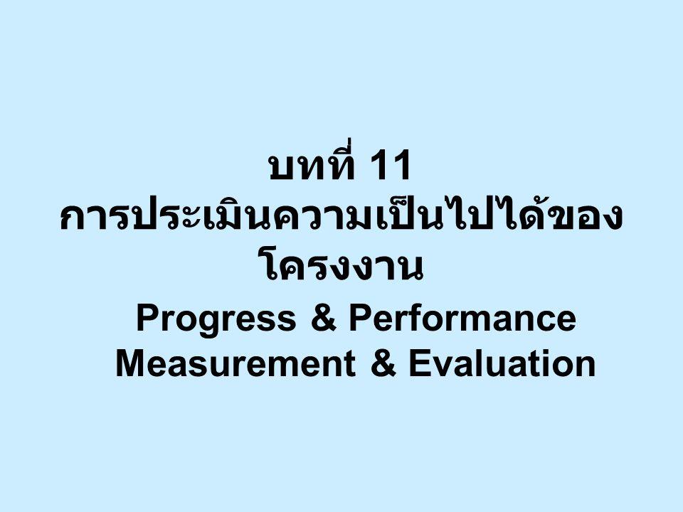 บทที่ 11 การประเมินความเป็นไปได้ของ โครงงาน Progress & Performance Measurement & Evaluation