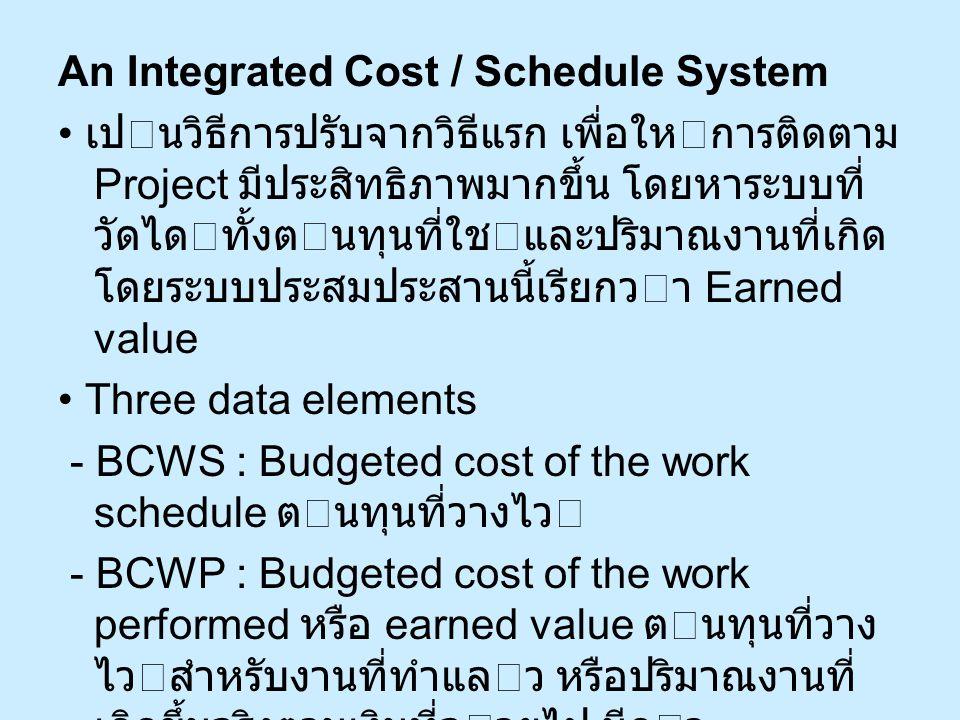 An Integrated Cost / Schedule System เปนวิธีการปรับจากวิธีแรก เพื่อใหการติดตาม Project มีประสิทธิภาพมากขึ้น โดยหาระบบที่ วัดไดทั้งตนทุนที่ใชและปร
