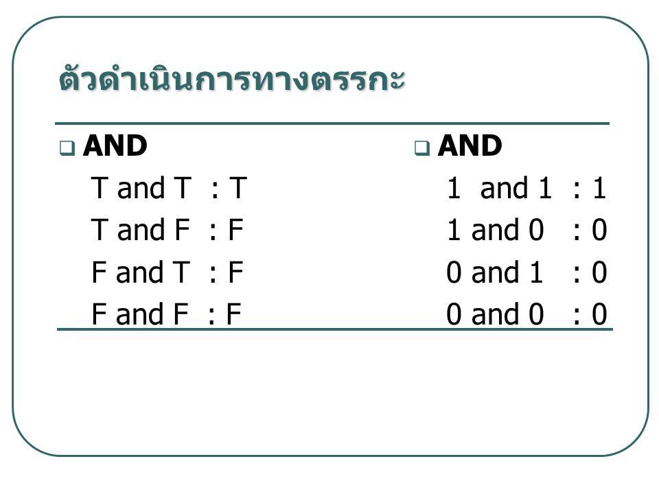  AND T and T : T T and F : F F and T : F F and F : F  AND 1 and 1 : 1 1 and 0 : 0 0 and 1 : 0 0 and 0 : 0 ตัวดำเนินการทางตรรกะ