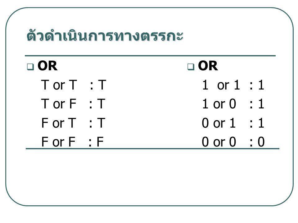  OR T or T : T T or F : T F or T : T F or F : F  OR 1 or 1 : 1 1 or 0 : 1 0 or 1 : 1 0 or 0 : 0 ตัวดำเนินการทางตรรกะ
